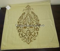 "NWT Pottery Barn PEACOCK BHOTAH Block Print Pillow Cover 26"" GOLD"