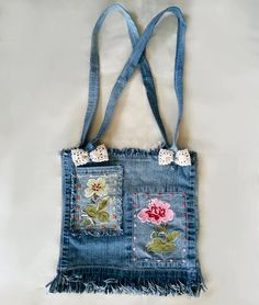 Denim Purse Recycled Denim Purse Upcycled Blue Jean by MissThread