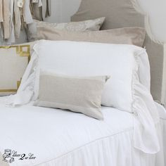 Gorgeous white linen sham with 2 sides of ruffle perfection. Long ruffles cascade on 2 sides of the sham.