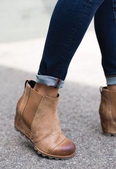 tan ankle booties boots winter outfit style