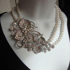 Gorgeous!  Pearl and Rhinestone Bride Necklace Vintage style Statement Jewelry - Wedding Jewelry, Floral Pendant, Swarovski Double Strand. $125.00, via Etsy.