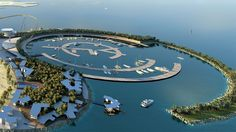 A futuristic soccer field, museum, theme park, hotel, villas, marina and soccer arena pooled in $1 billion resort Island. Seeing the logo, yes you guess it right. It's owned by Real Madrid (Football Club).
