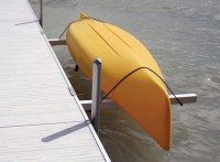 Michigan Lake Products: A convenient, secure and user friendly, dock mounted storage system for your canoe(s) or kayak(s). Available in both single or double rack sizes. Colors are either white or tan. Kayak Storage Rack, Kayak Rack, Boat Storage, Lake Dock, Boat Dock, Kayak Holder, Lake Floats, Kayak Trailer, Floating Dock