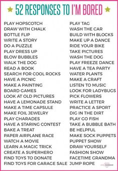 """Responses to """"I'm Bored"""" What to tell your kid when she says, """"I'm bored."""" Perfect list for summer activities to keep kids entertained!What to tell your kid when she says, """"I'm bored."""" Perfect list for summer activities to keep kids entertained! Bored Jar, Bored Kids, Sleepover Party, Babysitting Activities, Activities For Kids, Sleepover Activities, Babysitting Kit, Games To Play With Kids, Indoor Activities"""