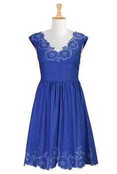 Floral Embroidered Dress, Clothing For Plus Size Shop women's designer dress: Women's stylish dress, Missy, Plus, Petite, Tall, 1X, 2X, 3X, 4X, 5X, 6X -   eShakti.com