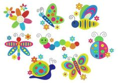 Rainbow Spring Bugs Embroidery Design Set   Bugs Machine