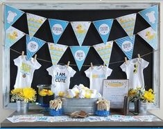d75b68bea Onesie Decorating Kit/ Baby Shower Games/ DIY Decorating Station/ Blue/  Baby Boy/ 12 or 18 Transfers + Onesies, Banners & More!