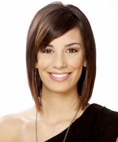 Short Straight Formal Hairstyle with Side Swept Bangs - Medium Chocolate Brunette Hair Color Chocolate Brunette Hair, Medium Brunette Hair, Medium Short Hair, Short Straight Hair, Short Hair Cuts, Medium Hair Styles, Short Hair Styles, Long Bob, Bob Hairstyles With Bangs