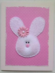 Easter cards for kids. Flowers for girls.. ties or bowties for boys. Or just bunnies with egg-y backgrounds. Bunny made of felt and stuffed lightly with batting. : )