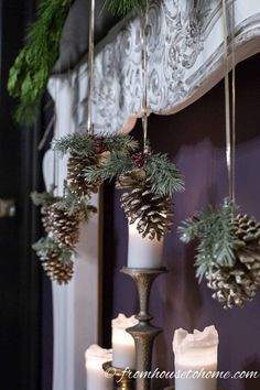 Really Easy Pine Cone DIY Christmas Ornament (and other DIY Christmas Ornaments) - Christmas Pictures Diy Christmas Decorations For Home, Family Christmas Ornaments, Christmas Crafts For Kids, Christmas Diy, Christmas Pictures, Pinecone Christmas Crafts, Yule Decorations, Christmas Garden, Floral Decorations