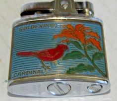 Vintage Lighter With Kentucky The Blue Grass State Goldenrod Cardinal