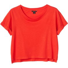 Monki Pim tee ($11) ❤ liked on Polyvore featuring tops, t-shirts, shirts, crop tops, red dragon, roll sleeve shirt, red shirt, monki, roll top and red crop top