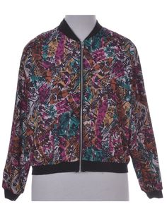Vintage Bomber Jacket Multi-colour With Ribbed Cuffs And Waistband | Beyond…