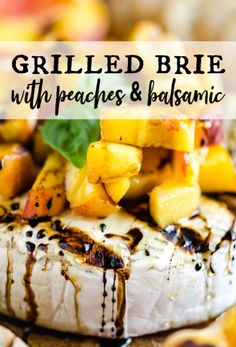 This takes grilled cheese to a whole new level! Top this scrumptious wheel of brie with peaches and balsamic. Spread it on crackers flat bread or crostinis! A delicious appetizer snack or side dish that everyone will enjoy. Brie Appetizer, Easy Appetizer Recipes, Yummy Appetizers, Easy Snacks, Barbecue Recipes, Grilling Recipes, Flat Top Grill, Queso Feta, Summer Recipes