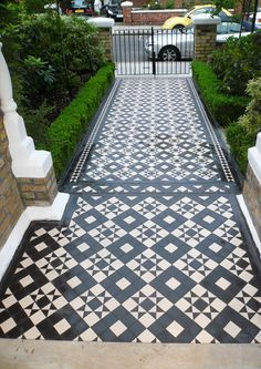 We sell, install and restore Victorian path tiles & interior tiled hallways in the London area. Front Garden Entrance, Front Garden Path, Front Path, Front Door Steps, Victorian Front Garden, Victorian Front Doors, Victorian Tiles, Victorian Terrace, Victorian Manor