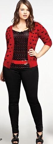 Red and black jacket, black single, red belt, black skinny and black shoes plus size