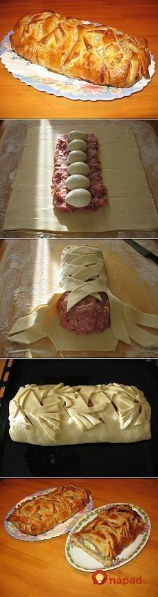 best recipes - Homemade meatloaf in dough – Simple recipes Ovkuse. Meat Recipes, Cooking Recipes, Good Food, Yummy Food, Russian Recipes, Creative Food, Food Inspiration, Food To Make, Food And Drink