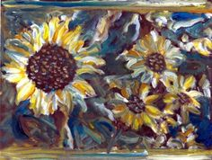 Tribute to Van Gogh Sunflowers painted photo