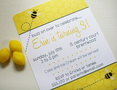 Bumble Bee Birthday Party Invitations from Swanky Press