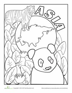 Earth Day First Grade Places Worksheets: Asia Coloring Page Animal Crafts For Kids, Animal Projects, Art Projects, Geography For Kids, World Geography, Preschool Curriculum, Kindergarten Activities, Continents And Oceans, Asia Continent