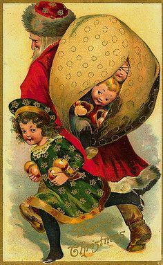 Vintage St. Nicholas Christmas Postcard...naughty children in St.Nicholas's sack. Good children with fruit.