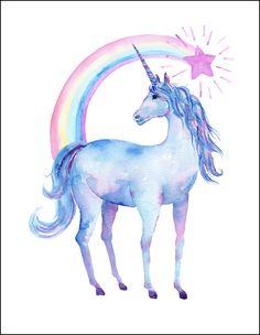 Free Printable Watercolor Unicorn Pictures | Unicorn Art | OHMY-CREATIVE.COM | Rainbow Unicorn Artwork | Girls Room Decor | Unicorn Art for Kids | Rainbow Artwork for Kids