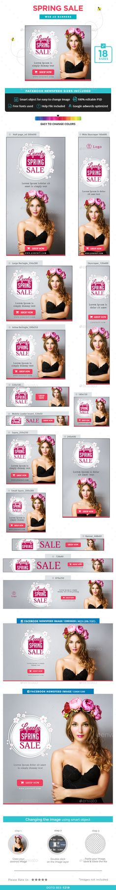 Spring Sale Banners — Photoshop PSD #web banner #flat design • Available here → https://graphicriver.net/item/spring-sale-banners/15336099?ref=pxcr