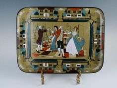 Charming-Antique-1909-Buffalo-Pottery-Deldare-Dancing-Ye-Minuet-Tray-Platter