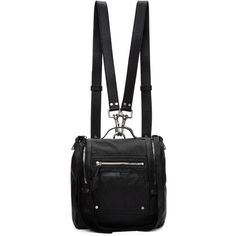 McQ Alexander McQueen Black Mini Convertible Box Backpack found on Polyvore featuring polyvore, women's fashion, bags, backpacks, black, detachable backpack, mini bag, mini zip bags, handle bag and convertible bag