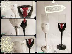 DIY Decorar copas de novios para bodas http://ini.es/1uDMd1y #DecorarCopas, #DIY