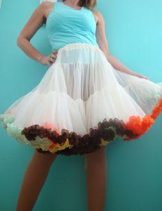 crinoline petticoat   POOFY White Crinoline Petticoat Colorful Tiered Ruffles. Vintage ...