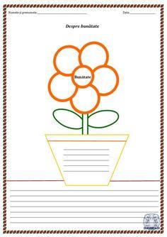 """Despre bunătate. Câteva idei și o fișă de lucru - """"Floarea bunătății"""" School Lessons, Homework, Parenting, Classroom, Education, Ems, Blog, Cards, Literatura"""