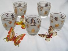 Vintage Libby Barware Glasses Golden Foliage Design Gold Leaf - HATE the butterflies in this photo