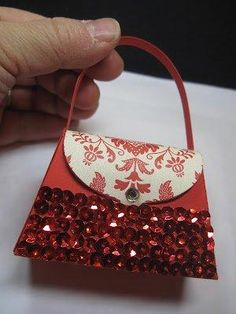 Petite Purse with red sequins by LyndaLee28 - Cards and Paper Crafts at Splitcoaststampers