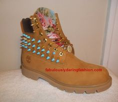 Custom Spike Timberland Boots with Light Blue Floral Front and Back - Fabulously Daring Fashion
