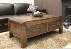 The Wooden Furniture Store's Shiro Walnut four drawer coffee table is a great centre piece for a living room.