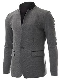 Mens Casual Slim fit 2 Tone Mandarin Collar Blazer Jacket with Pocket Flaps