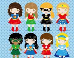 Superchicas Imágenes Prediseñadas, linda niña superhéroe clip art, clipart de superhéroes / descarga instantánea (S014)