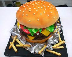 Cheeseburger & french fries groom's cake.
