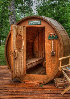 It is another day with ninety degree heat and humidity. Many of the older cabins in this area have saunas which their residents still use and dearly love. This barrel-shaped sauna is near a rebuilt Scandinavian cottage on Williams Lake, Mn. Saunas, Outdoor Sauna, Outdoor Decor, Outdoor Baths, Outdoor Sheds, Barrel Sauna, Scandinavian Cottage, Old Cabins, Steam Room