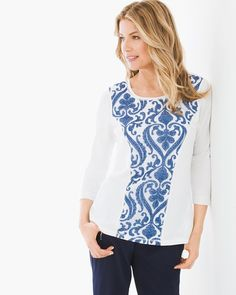"Stunning in print and so-beyond-soft, this mesh-insert top is a statement and a staple any day of the week.   3/4-sleeves.  Length: 27"".  Pima cotton, Modal® and spandex.  Machine wash. Imported."