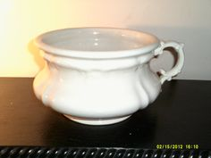 Vintage 1900's- 1920s Heavy Ironstone Chamber Pot, by Revere China Co., Akron, Ohio on Etsy, $17.95 1920s Bedroom, Akron Ohio, China, Vintage, Etsy, Vintage Comics, Porcelain
