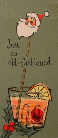 50s Santa straw, vintage Christmas card
