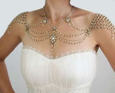 Gem-Infused Body Jewelry - The My Little Bride 1920s Inspiration Shoulder Necklace is Delicate (GALLERY)