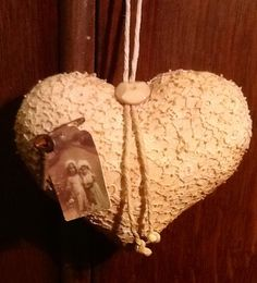 Vintage lace and osnaburg heart door hanger AB4B by PrimRaggedies, £2.99