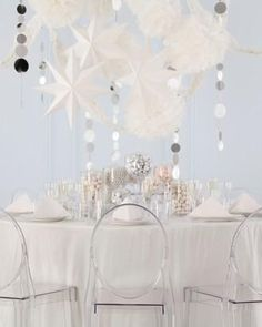 Create a dramatic winter wonderland with hanging decor from MarthaCelebrations. #LetsCelebrate
