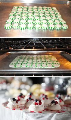 Bake at 350 for 7-10 minutes. You'll definitely want a peppermint tray to serve all of your desserts on.... | 49 Things That Taste Like Christmas. I changed the link to a different tutorial for this - the original link had a virus attached!!