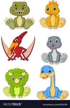 Vector illustration of Cute baby dinosaurs cartoon collection set , Dinosaur Images, Cartoon Dinosaur, Cute Dinosaur, Dinosaur Art, The Good Dinosaur, Baby Cartoon, Cute Cartoon, Dinosaur Posters, Dinosaur Crafts