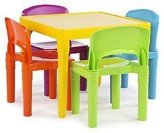 Amazon.com: Tot Tutors Kids Plastic Table and 4 Chairs Set, Vibrant Colors: Kitchen & Dining