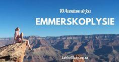 10 doendinge vir jou emmerskoplysie … Daar is 'n hele rits doendinge in Suid-Afrika wat jy maar gerus op jou emmerskoplysie kan sit. African, Tours, Blog, Travel, Voyage, Blogging, Viajes, Traveling, Trips